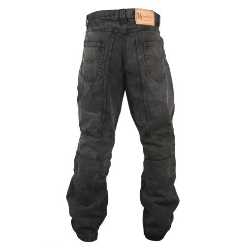 Мотоджинсы Men's Classic Fit Black Stonewash Denim Motorcycle Racing Pants